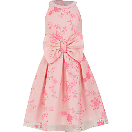 Girls pink embroidered bow prom dress