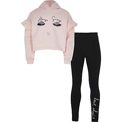 Girls pink eyelash hoodie outfit
