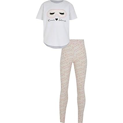 Girls pink eyemask pyjamas set