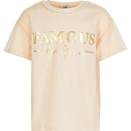 Girls pink 'Famous' mesh sleeve T-shirt