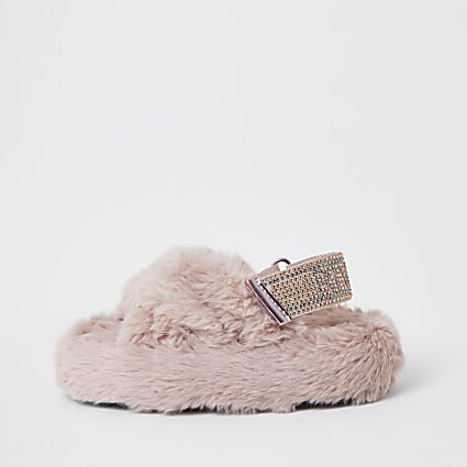 Girls pink faux fur diamante trim slippers