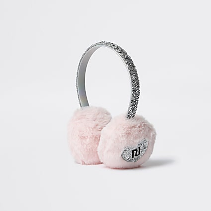 Girls pink faux fur earmuffs
