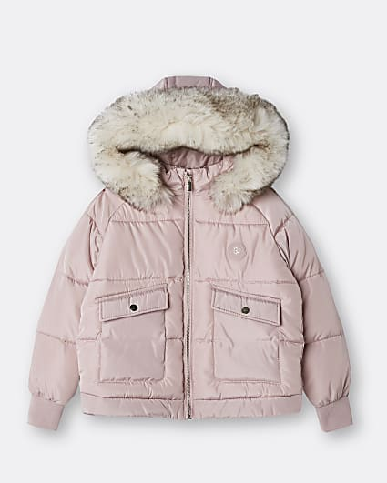 Girls pink faux fur hood puffer coat