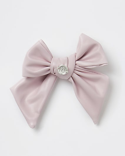 Girls pink faux leather bow hair clip