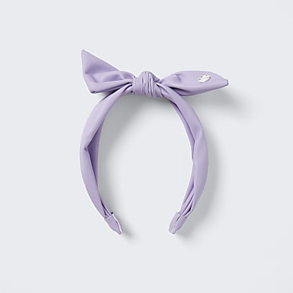 Girls pink faux leather bow headband