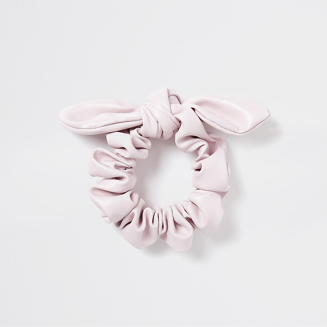 Girls pink faux leather bow scrunchie