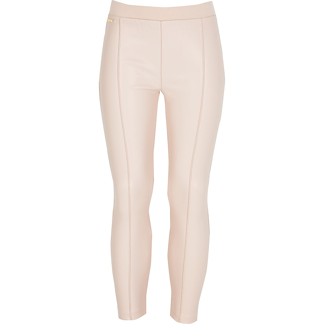 Girls pink faux leather leggings