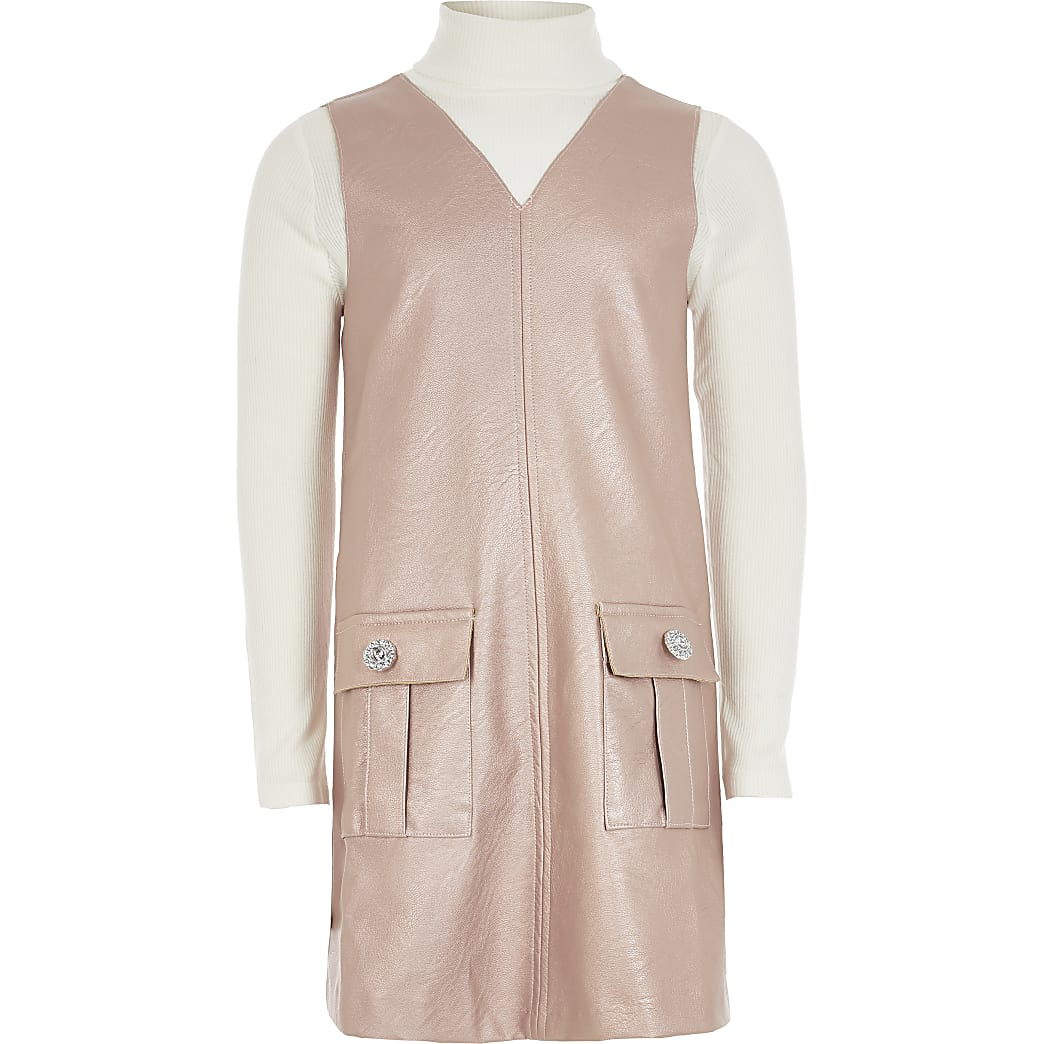 Girls pink faux leather pinafore dress outfit