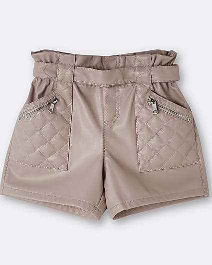 Girls pink faux leather quilted shorts