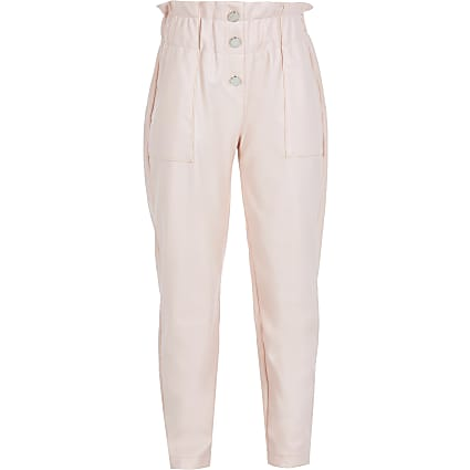 Girls pink faux leather trousers
