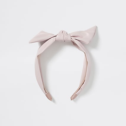 Girls pink faux leather twist knot headband