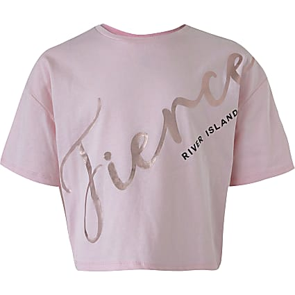 Girls pink 'Fierce' cropped T-shirt