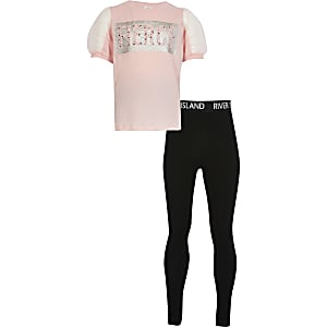 Girls pink 'Fierce' print mesh t-shirt outfit