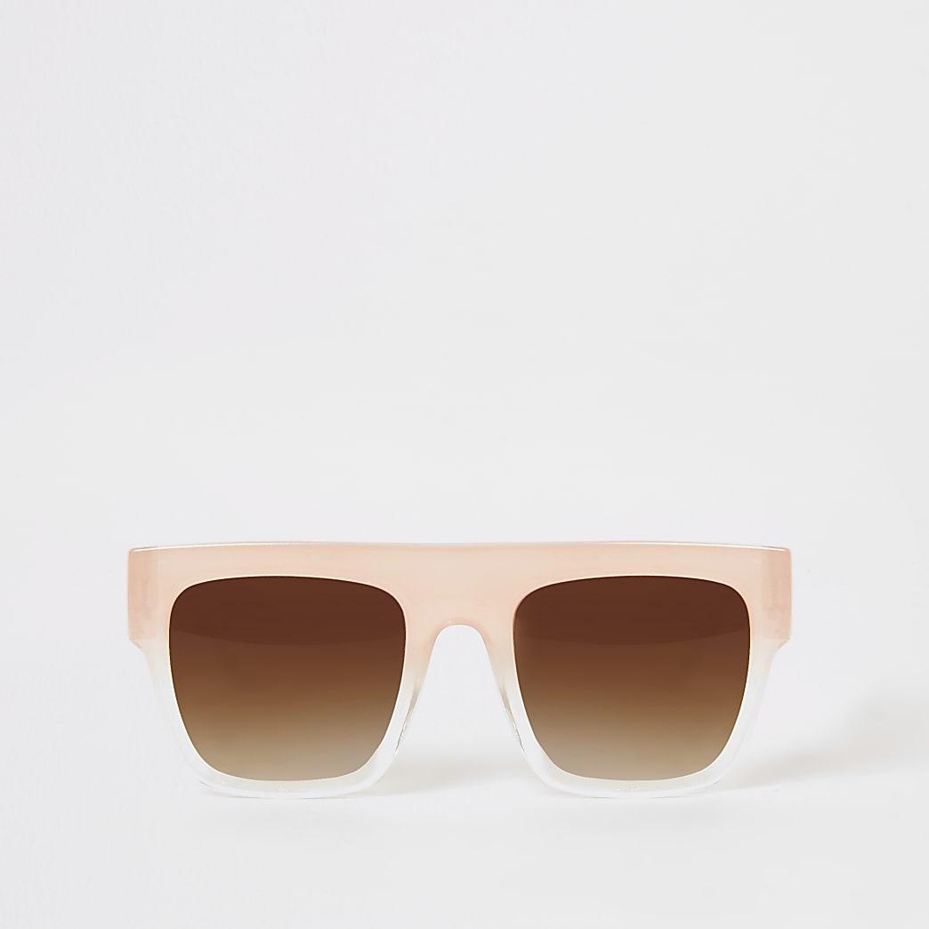 Roze zonnebril met platte bovenkant voor meisjes