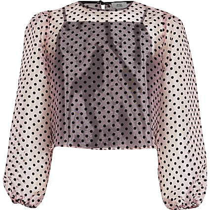 Girls pink flock spot blouse