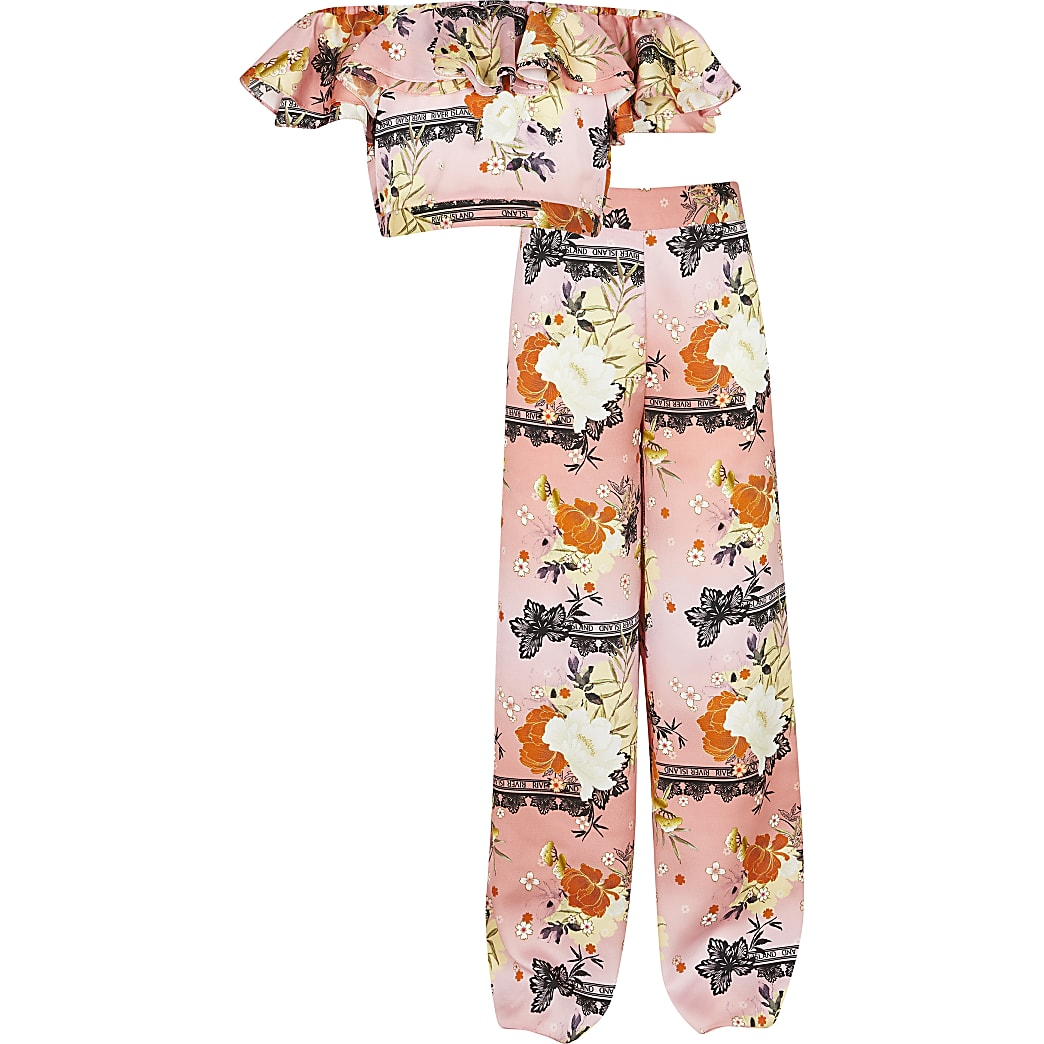 Girls pink floral crop and trouser outfit