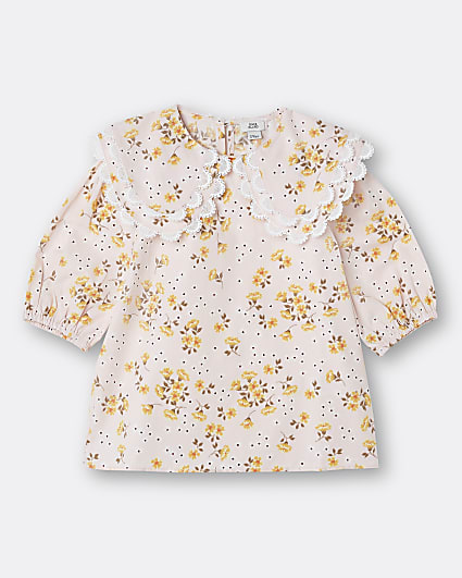 Girls pink floral double collared top