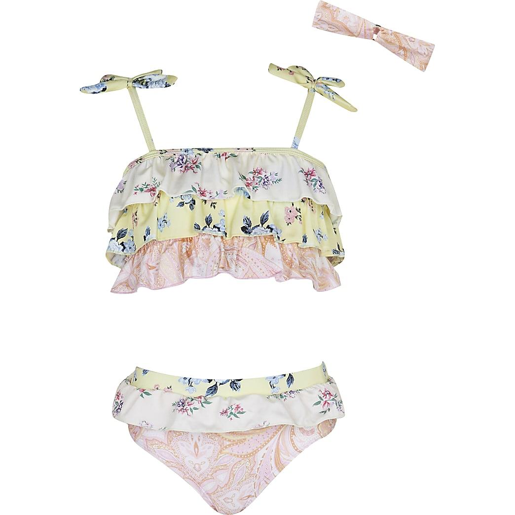 Girls pink floral frill bikini set