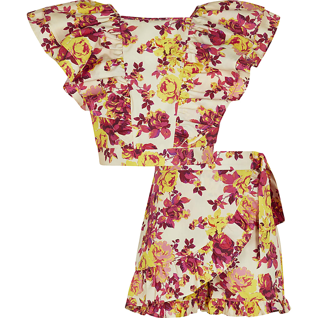 Girls pink floral frill top and shorts outfit