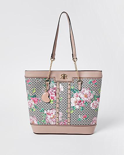 Girls pink floral monogram shopper bag