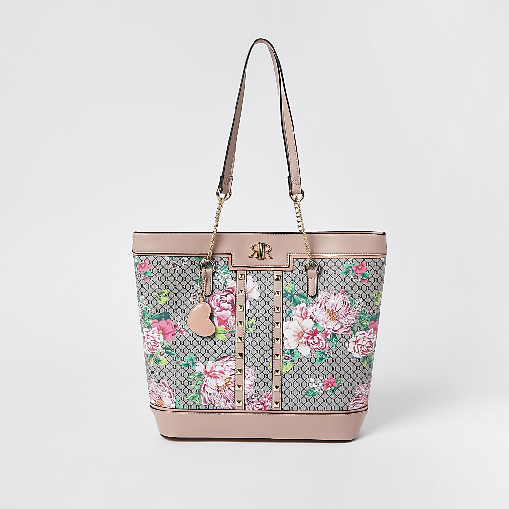 Girls pink floral monogram shopper bag