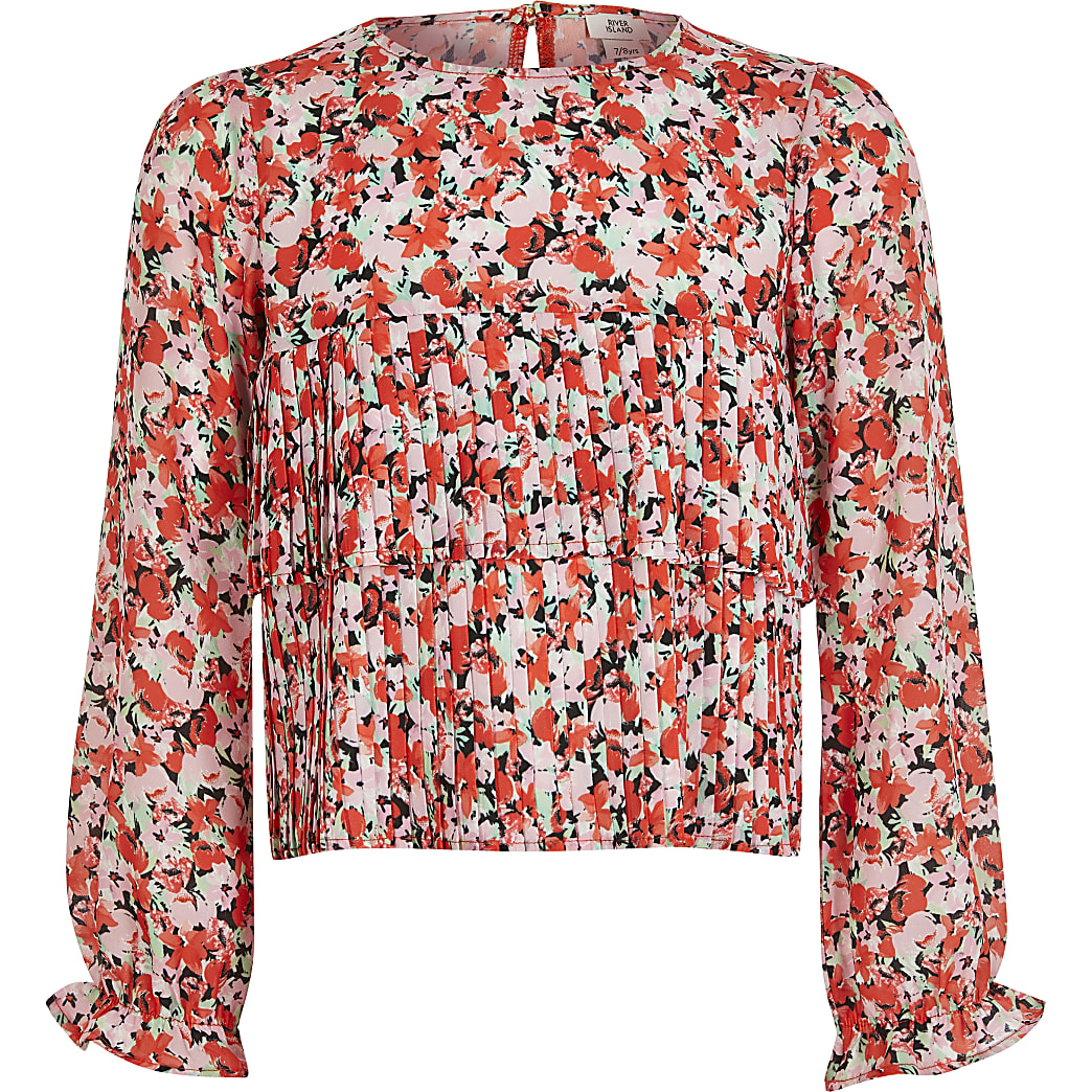 Girls pink floral pleated frill blouse
