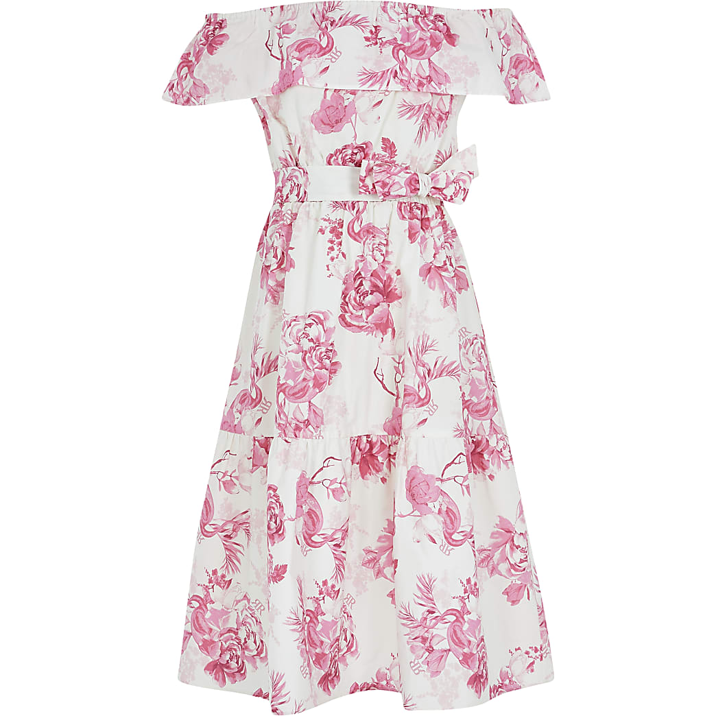 Girls pink floral print bardot midi dress
