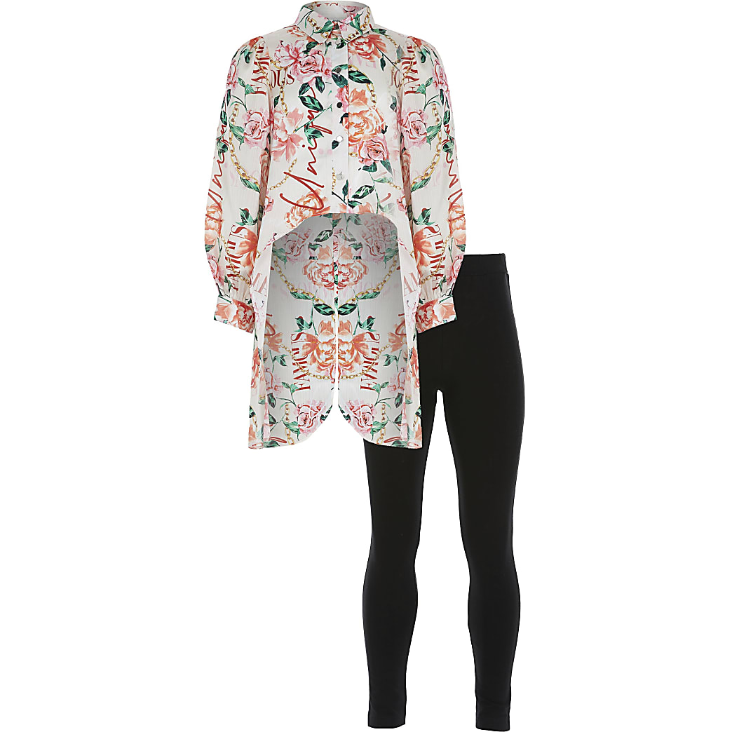 Girls pink floral print shirt outfit