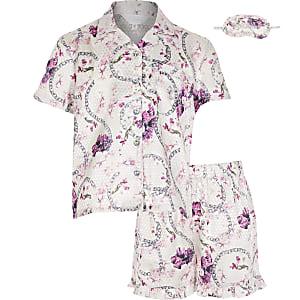 Roze satijnen pyjama met bloemenprint voor meisjes in cadeauverpakking