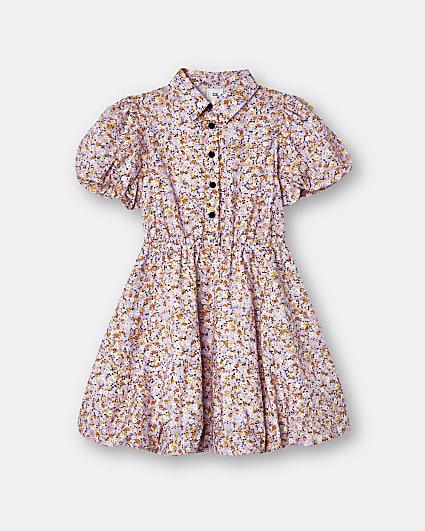 Girls pink floral shirt dress