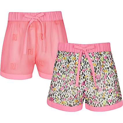 Girls pink floral shorts 2 pack