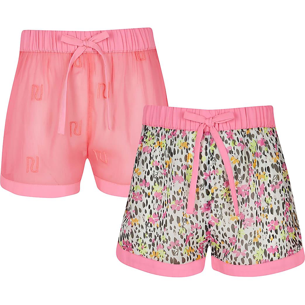 Girls pink floral shorts 2 pack