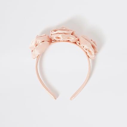 Girls pink flower embellished headband