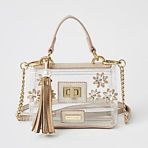 Girls pink flower embellished satchel