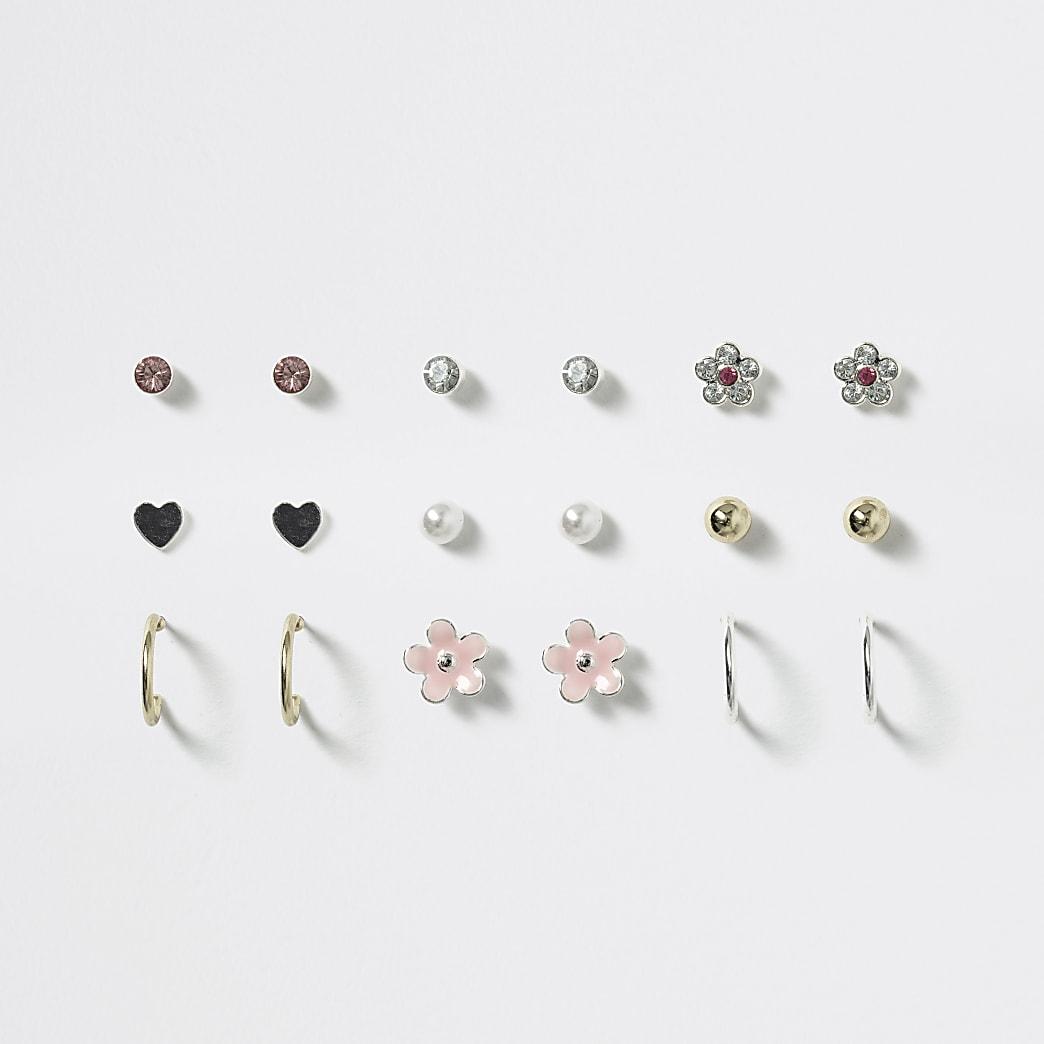 Girls pink flower stud earring pack