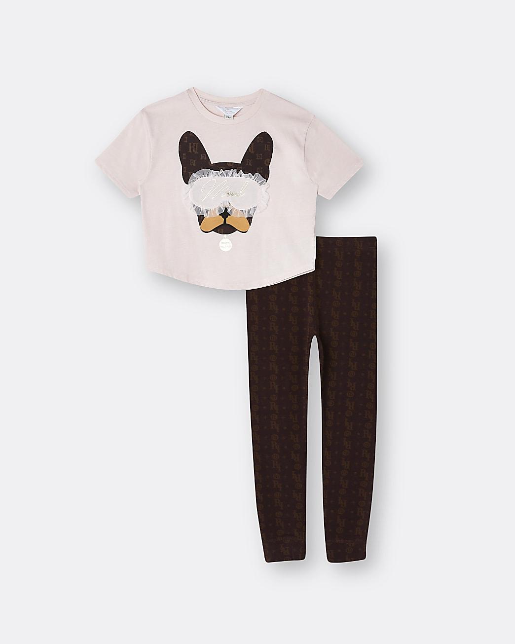 Girls pink Frenchie 2 piece pyjama set