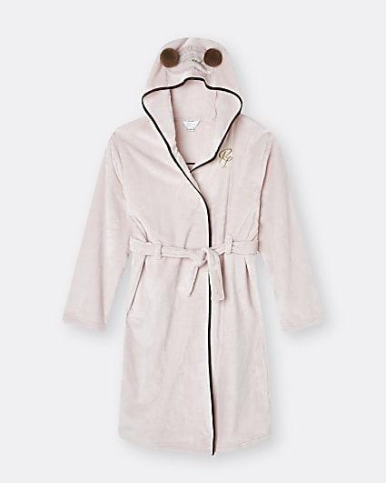 Girls pink frenchie eyemask cosy robe
