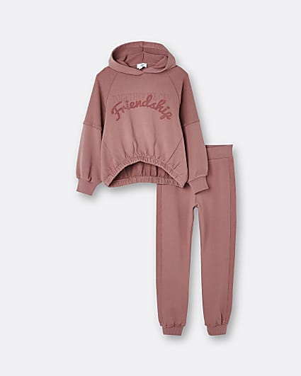 Girls pink 'Friendship' hoodie outfit