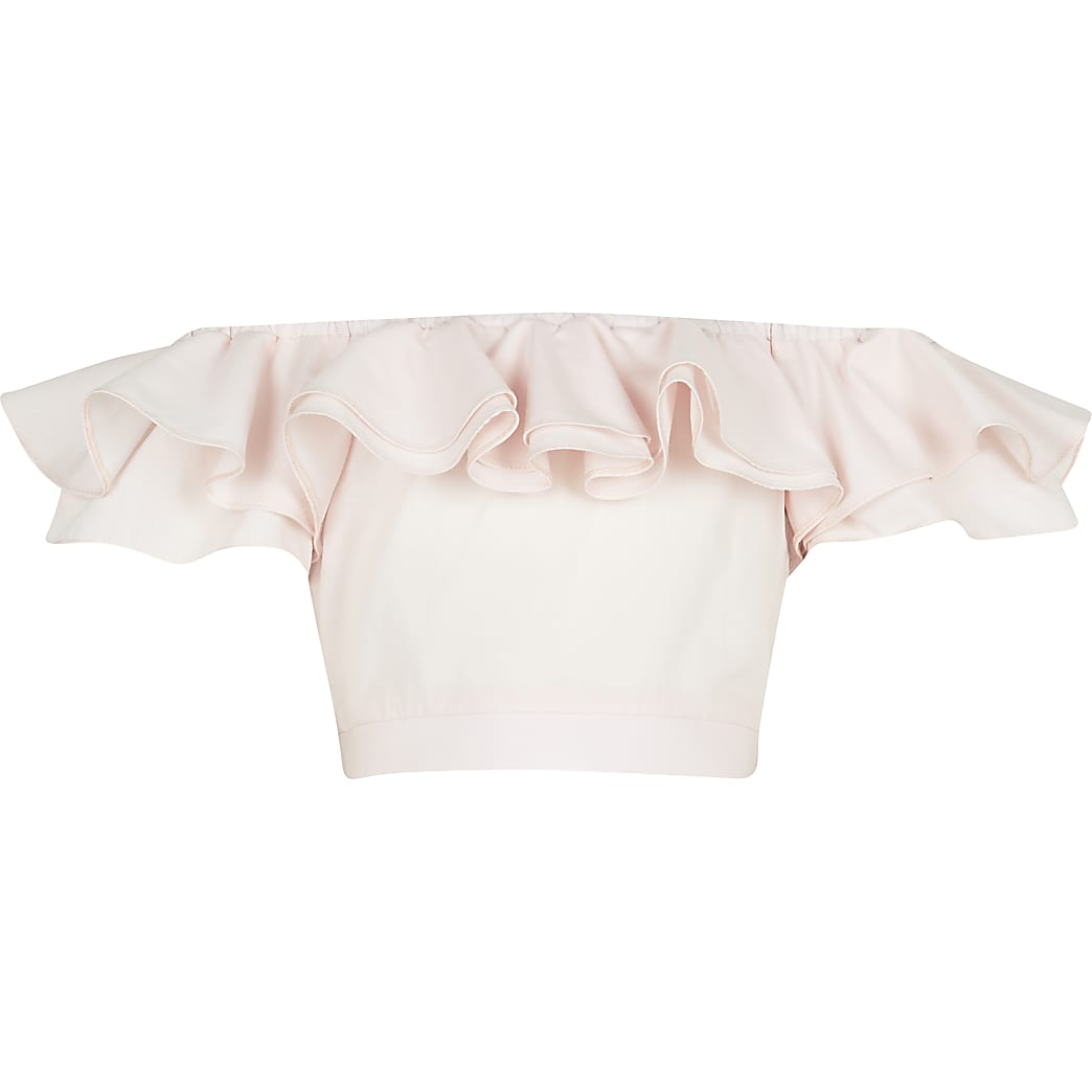 Girls pink frill bardot neck crop top