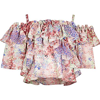 Girls pink frill bardot top