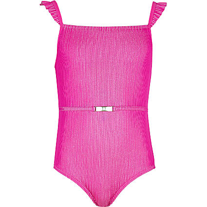 Girls pink frill belted swimsuit