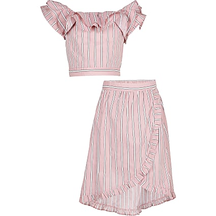 Girls pink frill crop stripe outfit