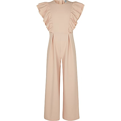Girls pink frill jumpsuit