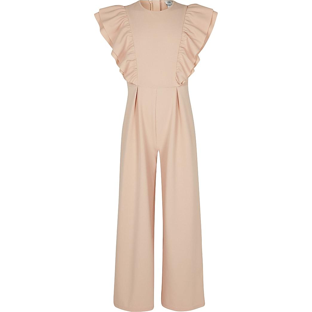 Girls pink frill jumpsuit