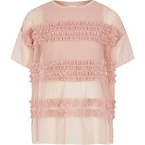 Roze cropped top van gaas met ruches voor meisjes