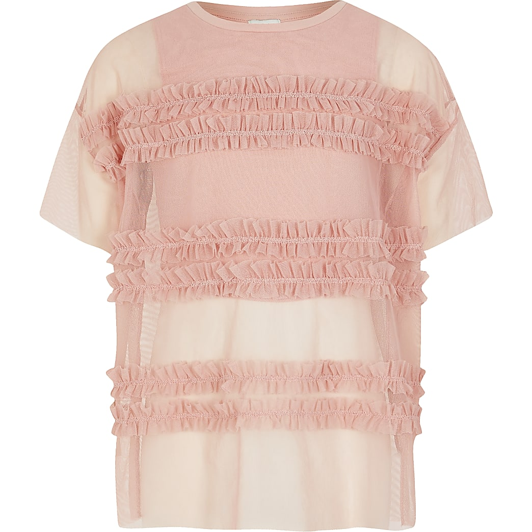 Girls pink frill mesh cropped top