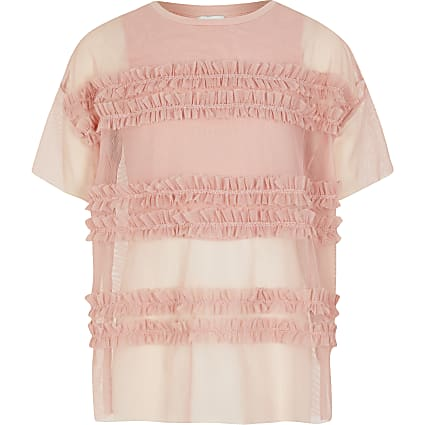 Girls pink frill mesh oversized layer top
