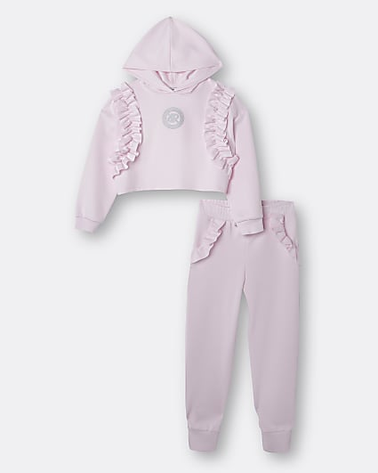 Girls pink frill scuba hoodie outfit