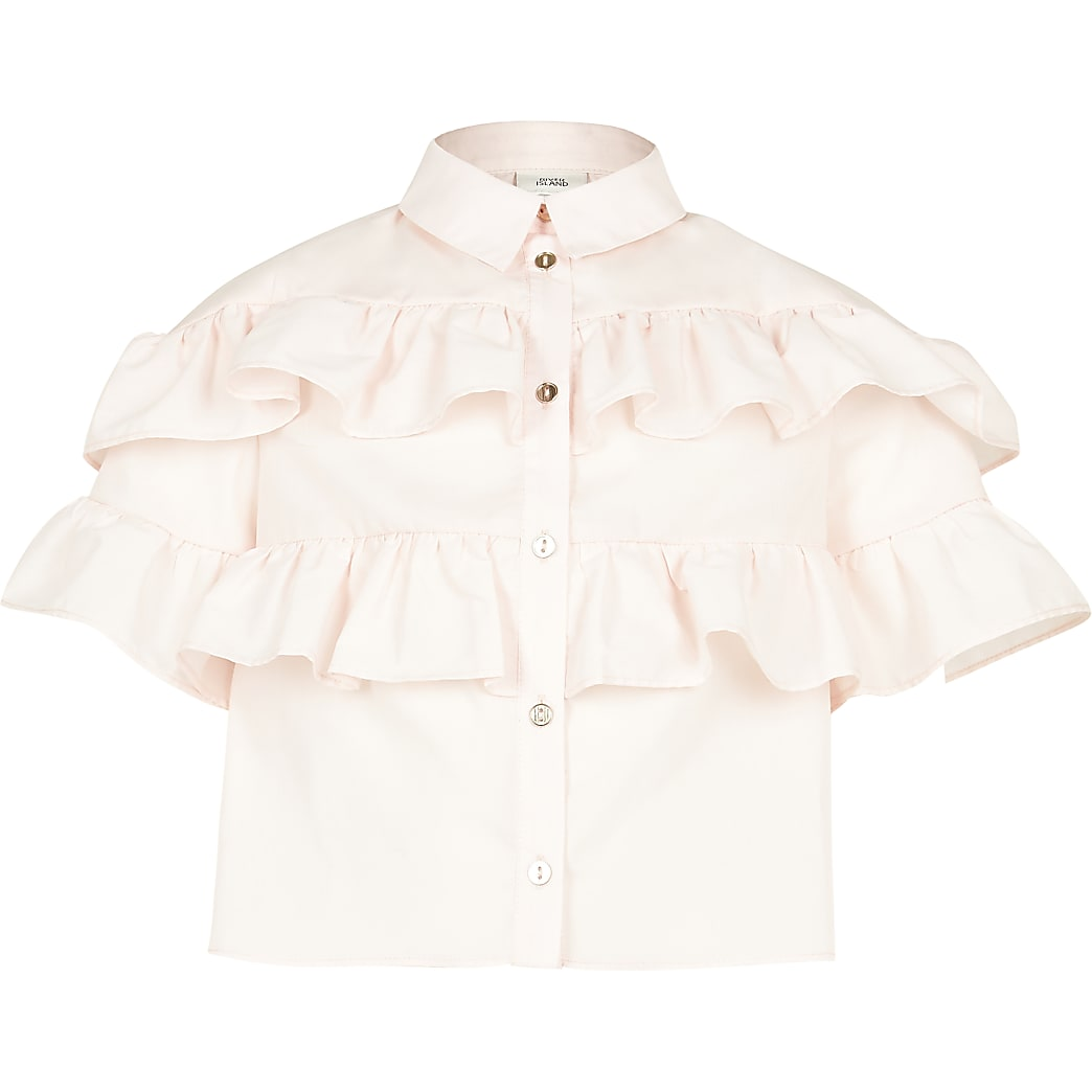 Girls pink frill shirt