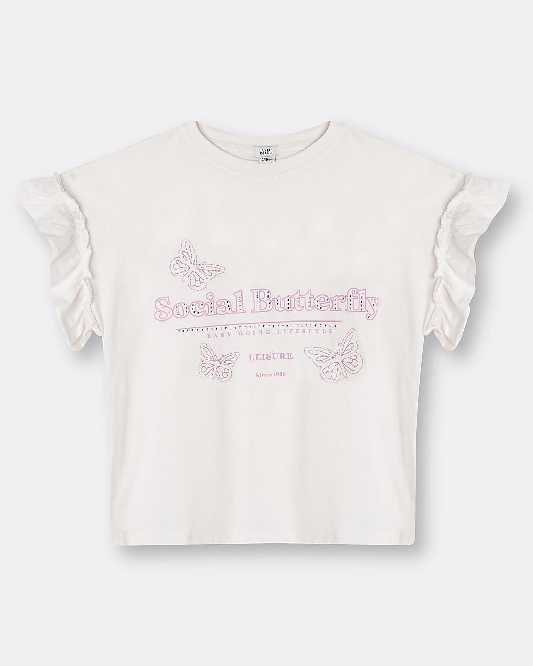 Girls pink frill 'Social Butterfly' t-shirt